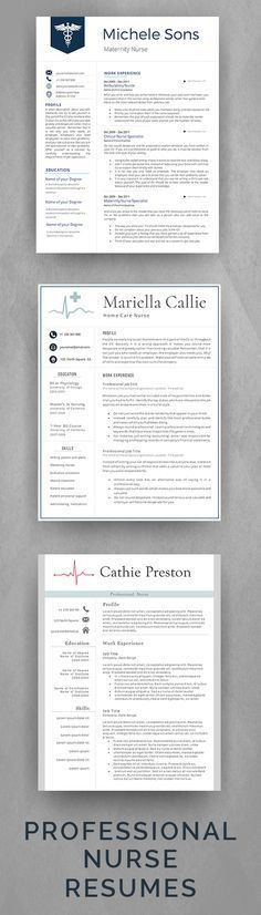 Professional Nurse Resume Template. Designed for Medical ...