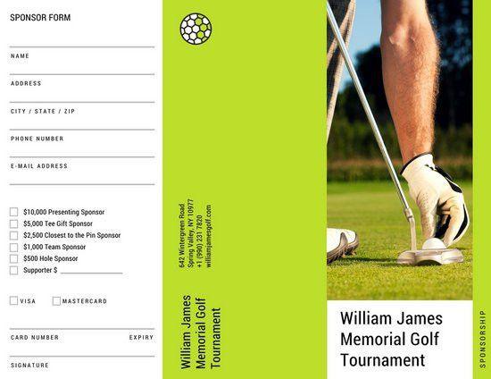 Green Photo Golf Tournament Sponsorship Form Trifold Brochure ...