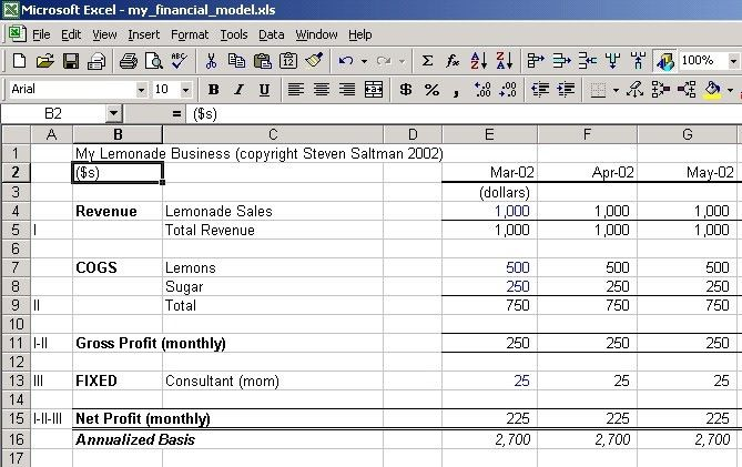 Steve's Financial Modeling Tutorial - Income I