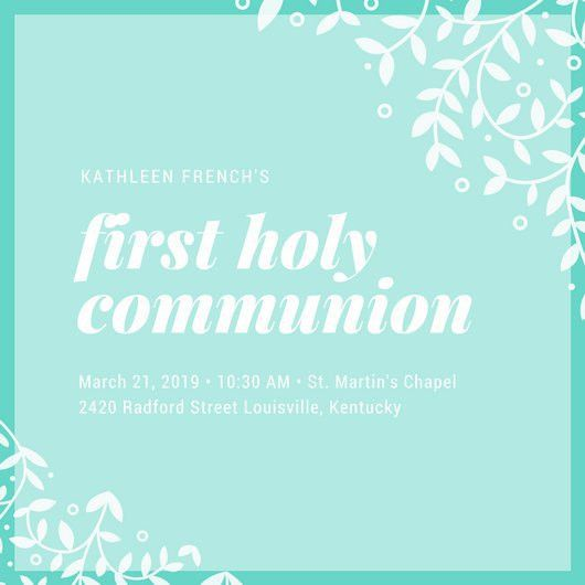 Illustrated Turquoise First Communion Invitation - Templates by Canva