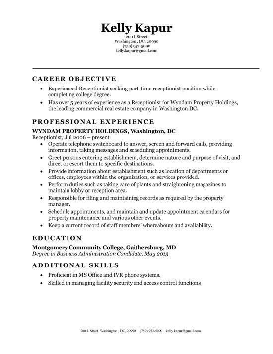 receptionist resume objective cover letter receptionist this