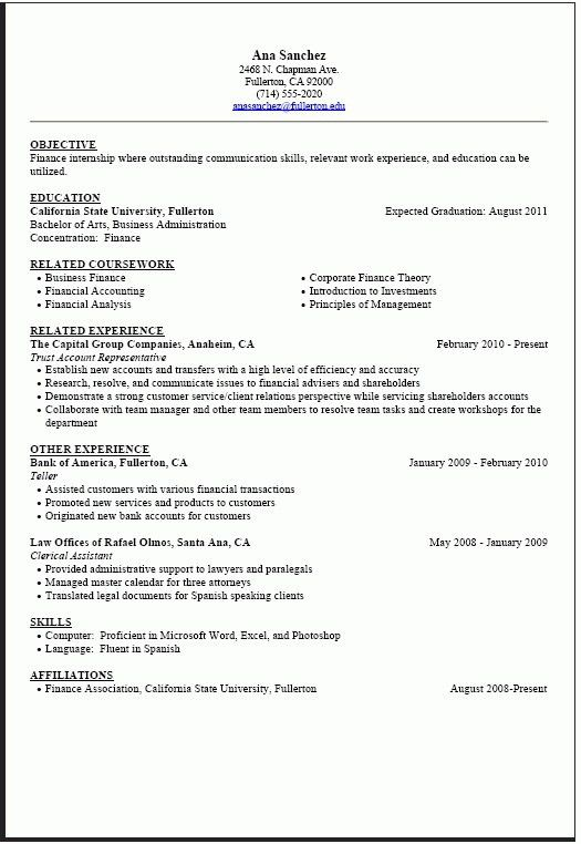 Resume Template For Internship. Internship Resume Builder Federal ...