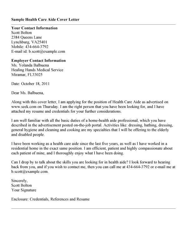 Health Care Aide Resume Cover Letter #4174