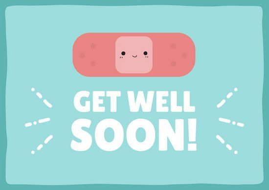 Cute Bandaid Get Well Soon Card - Templates by Canva