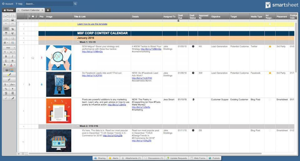 Free Social Media Calendar Templates | Smartsheet