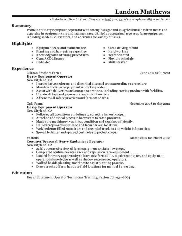 heavy equipment operator resume getessay biz 10 images of heavy ...