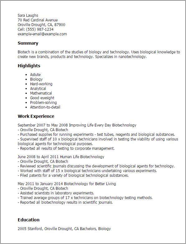 Cover letter examples biotech