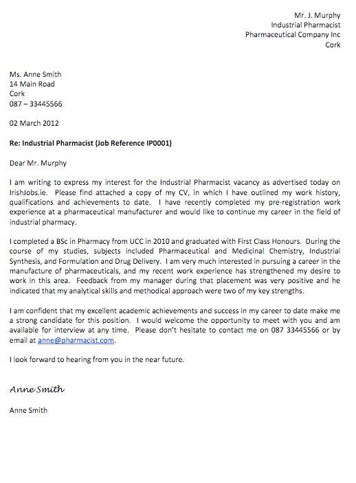 Pharmacist cover letter sample - RESUMEDOC