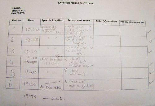 Group 6 - Megan, Eva, Jess R: Shot list and Shot log