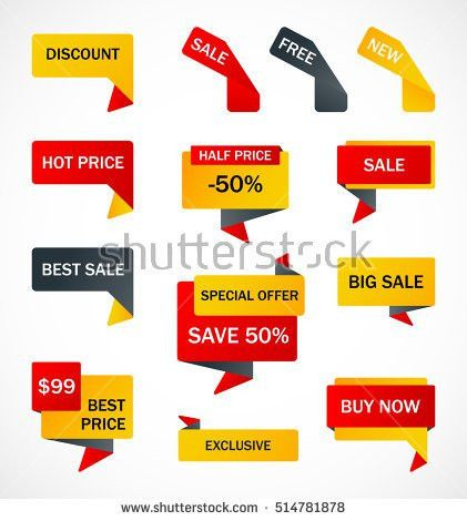 Vector Stickers Price Tag Banner Label Stock Vector 592761620 ...