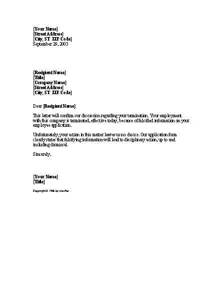 Termination letter Sample - Writing Professional Letters