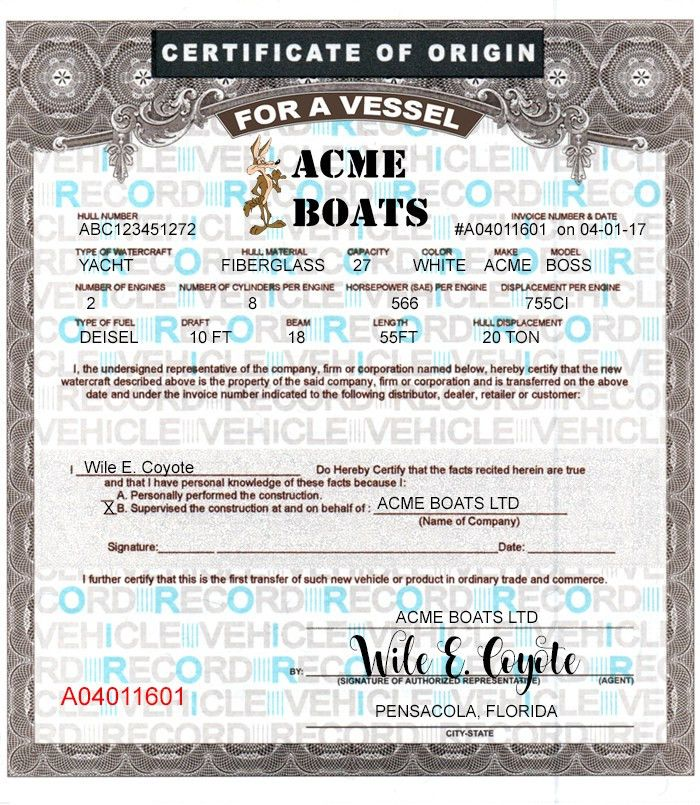 24 blank Boat MCO forms & Printing template Vessel Certificates of ...