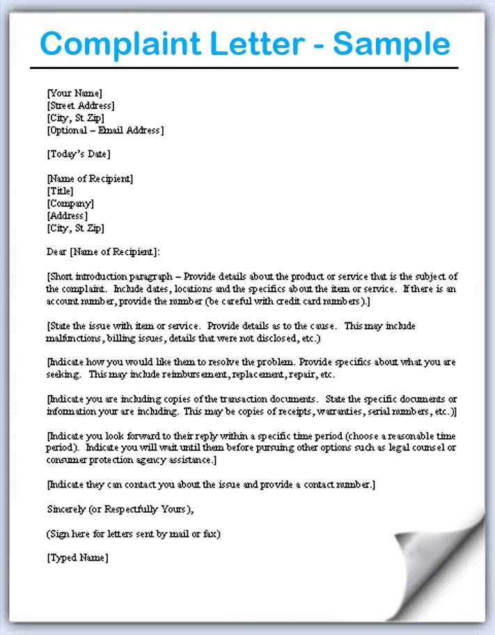 Complaint Letter Samples - Writing Professional Letters