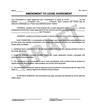 Create a Free Lease Amendment - Download & Print | Legal Templates