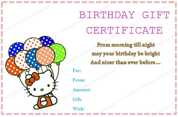Gift Certificate Template (For Little Girl)