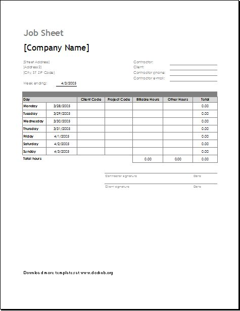 Job Sheet Template for MS EXCEL & OpenOffice | Document Hub