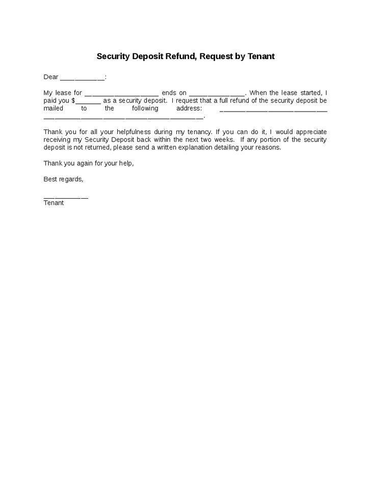 sample letter for return of security deposit | Mytemplate.co
