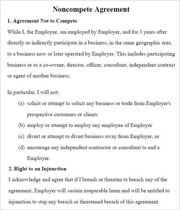 Sample Non Compete Agreement Template. Non Compete Non Disclosure ...