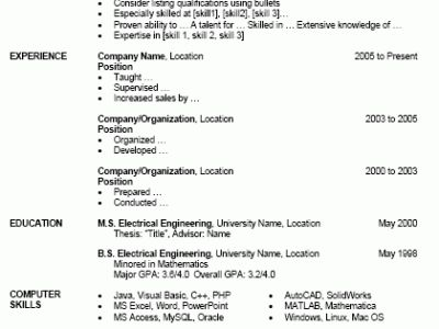 Senior java programmer resume
