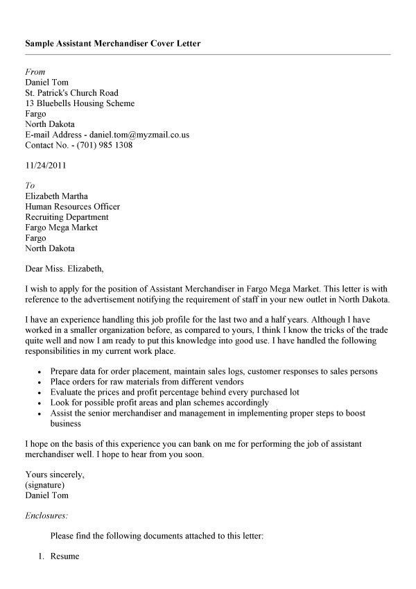 Cover Letter Visual Merchandiser | Experience Resumes