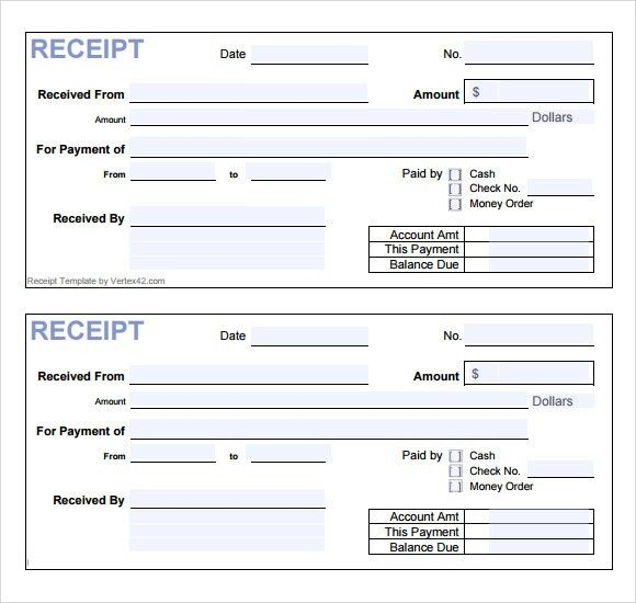 Free Receipt Printable Template for Excel, PDF Formats , Word ...