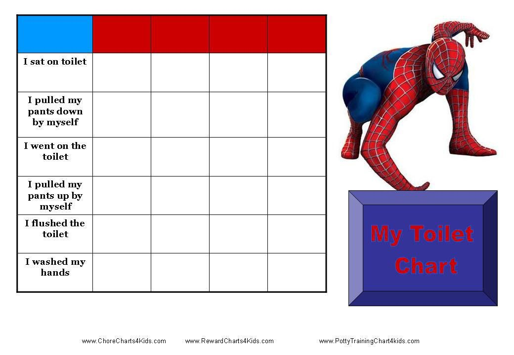 Spiderman Toilet Training Chart | Teaching kids to use the potty ...