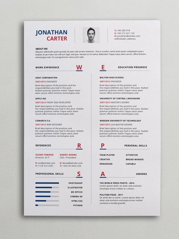 Modern Resume Template (PSD, Word) | Cv | Pinterest | Modern ...