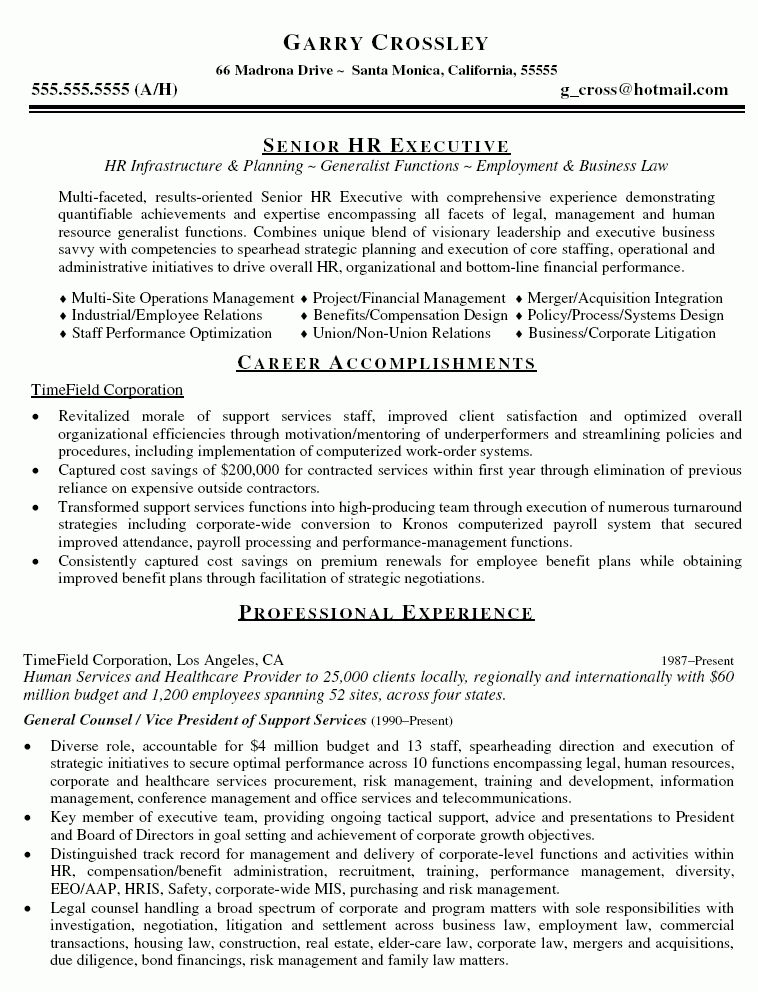 General Counsel VP Resume - General Counsel VP Resume Sample