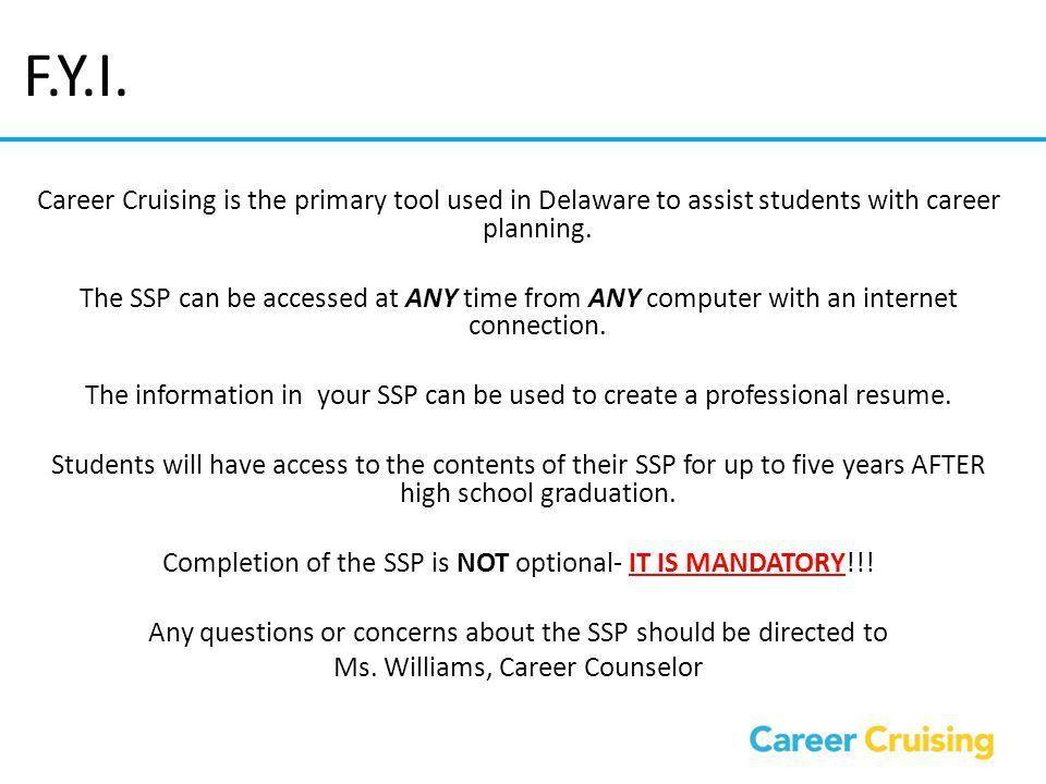 Career Cruising Delaware Student Success Plan (SSP) - ppt video ...