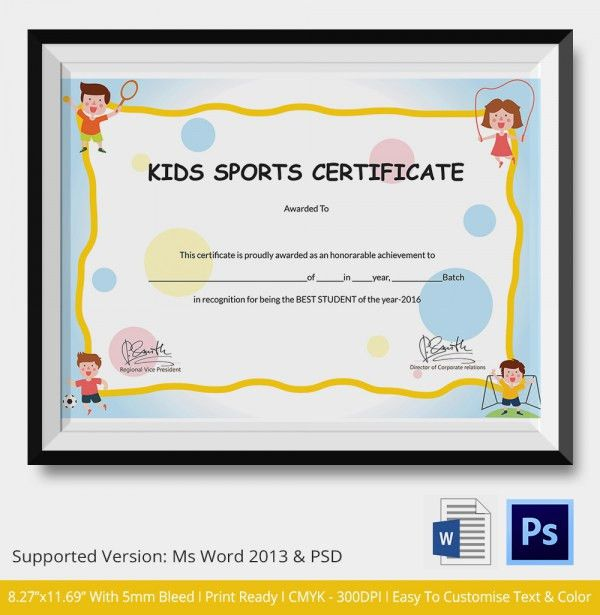 Kids Sports Certificate - 5+ Word, PSD Format Download | Free ...