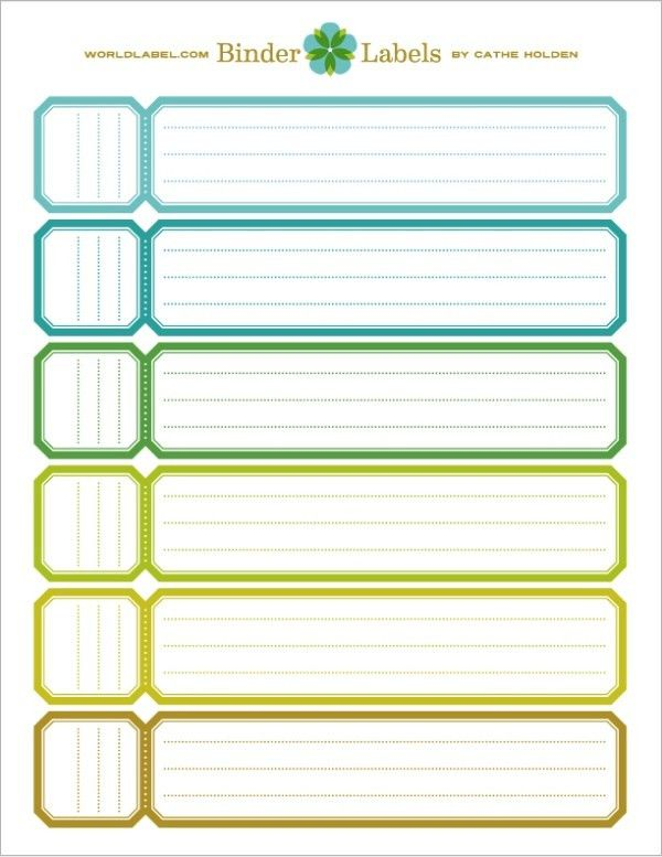 binder label template word
