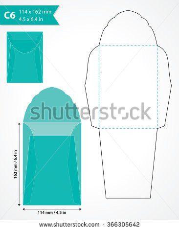 Square Die Cut Envelope Mock Up Stock Vector 351421190 - Shutterstock