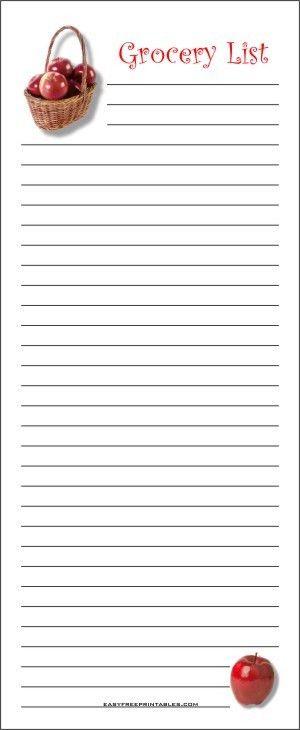 Printable Grocery List 1
