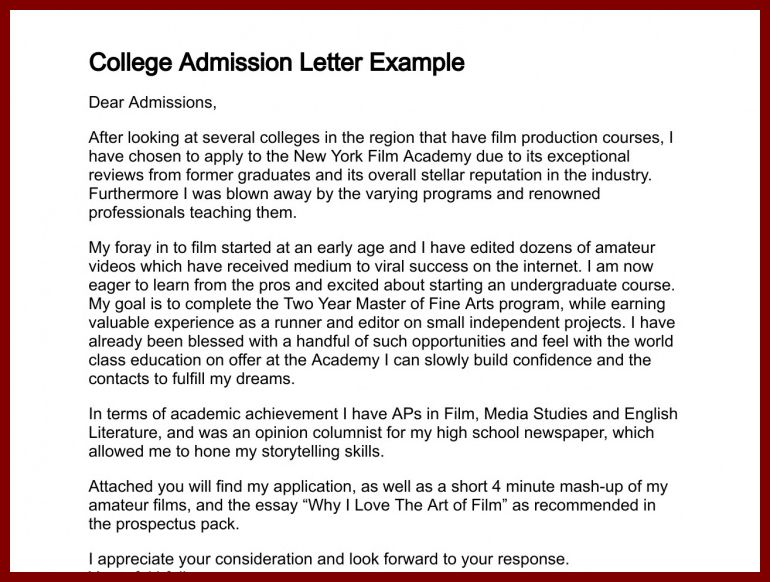 16 Sample Application Letter for Nursing School admission ...