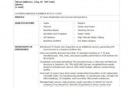 Journeyman Plumber Job Description RESUMES DESIGN, Sample Plumbing ...