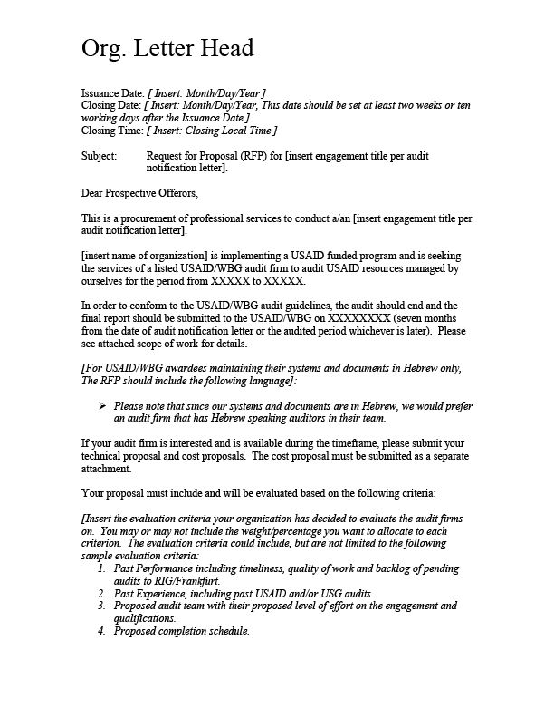 ATTACHMENT 8 A - Sample RFP Cover Letter | Audit Matters | West ...