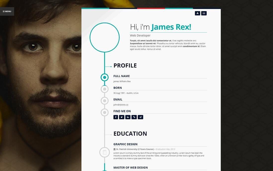 Cv Website Template. jaguarcv responsive resume cv website ...