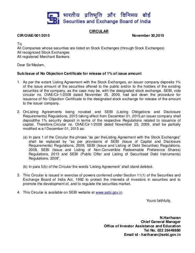 Issue of no objection certificate for release of 1% of issue amount