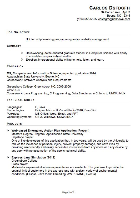 computer science internship resume objective professional resume ...