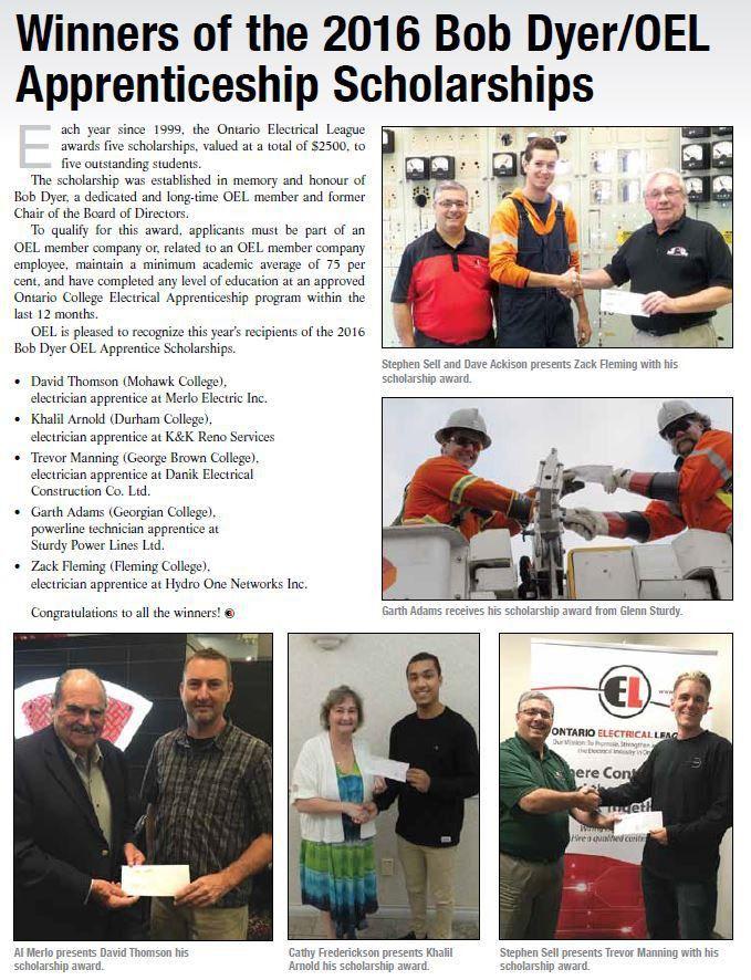 OEL Apprenticeship Scholarships