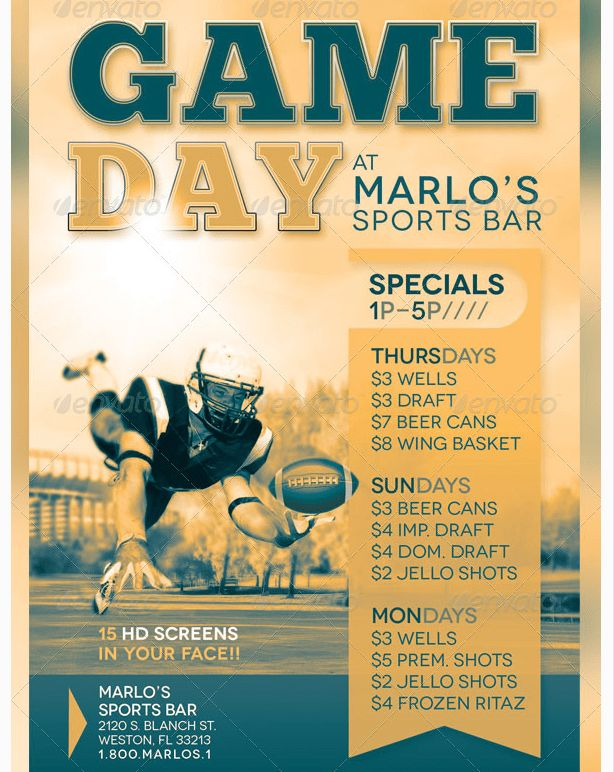 Game Day Sports Bar Flyer Template - Party Flyer Templates For ...