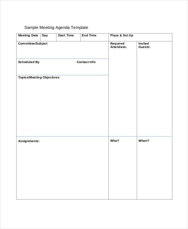 12+ Agenda Templates - Free Sample, Example, Format | Free ...