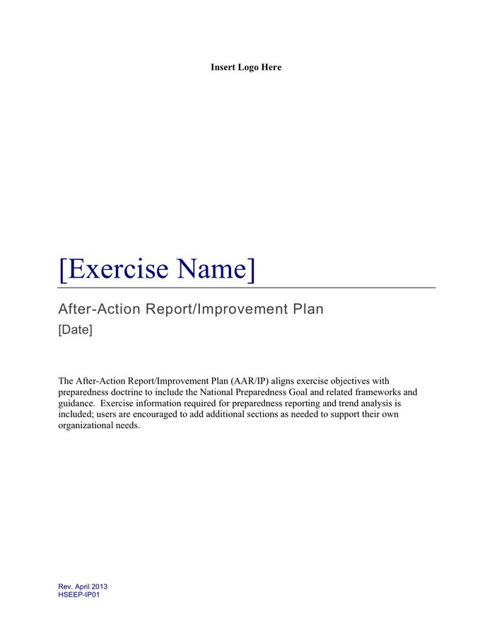 After Action Report Template - download free documents for PDF ...