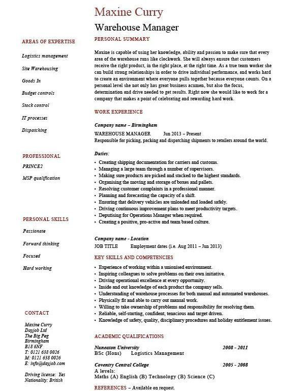 Entracing Warehouse Manager Resume Most - Resume CV Cover Letter