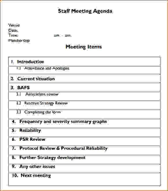 sample agenda templates