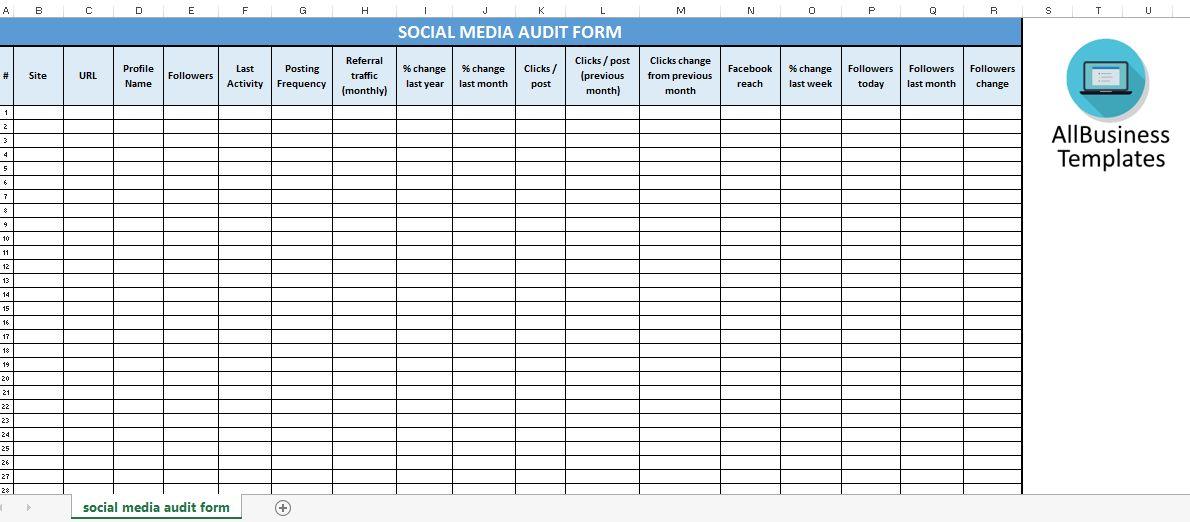 Free Social Media Spreadsheet Audit | Templates at ...