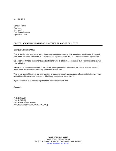 Customer Letter for Departed Employee - Template & Sample Form ...