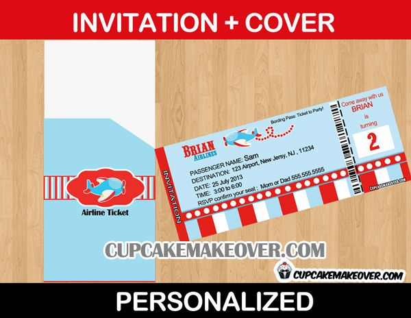 Airplane Party Invitation Card - Personalized - Cupcakemakeover