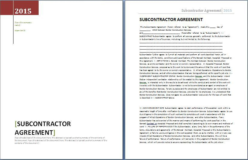 MS Word Formal Subcontractor Agreement Template | Word & Excel ...