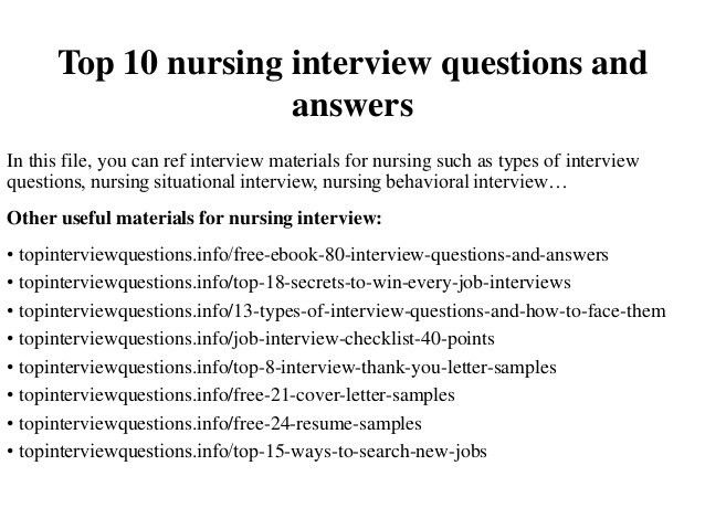 Sample Responses To Interview Questions Nursing Interview .